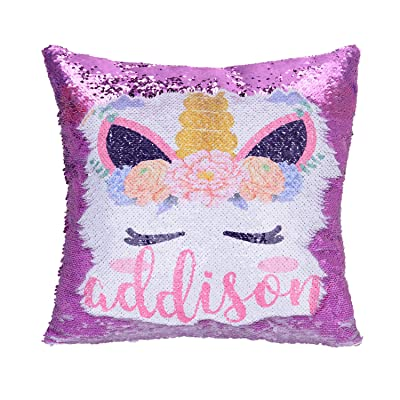 Merrycolor Personalized Unicorn Sequin Pillow with Name, Custom Mermaid Pillow Reversible Sequin Pillows Unicorn Gifts for Girls (A Unicorn-Purple): Home & Kitchen