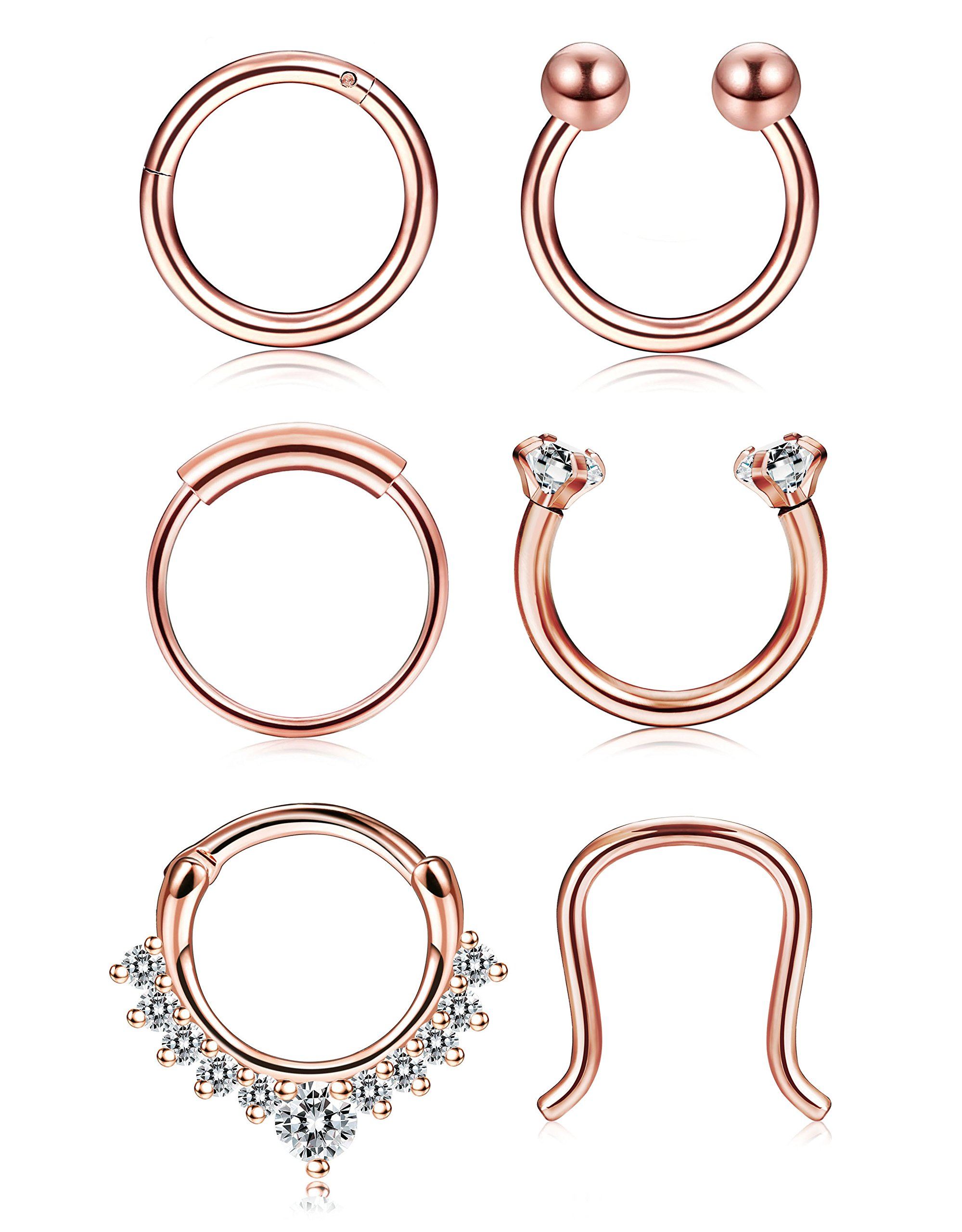 Thunaraz 4-6Pcs 316L Stainless Steel Septum Piercing Nose Rings Hoop Cartilage Tragus Retainer Body Piercing Jewelry 8MM 16G (A: 6Pcs Rose Gold Tone) by Thunaraz