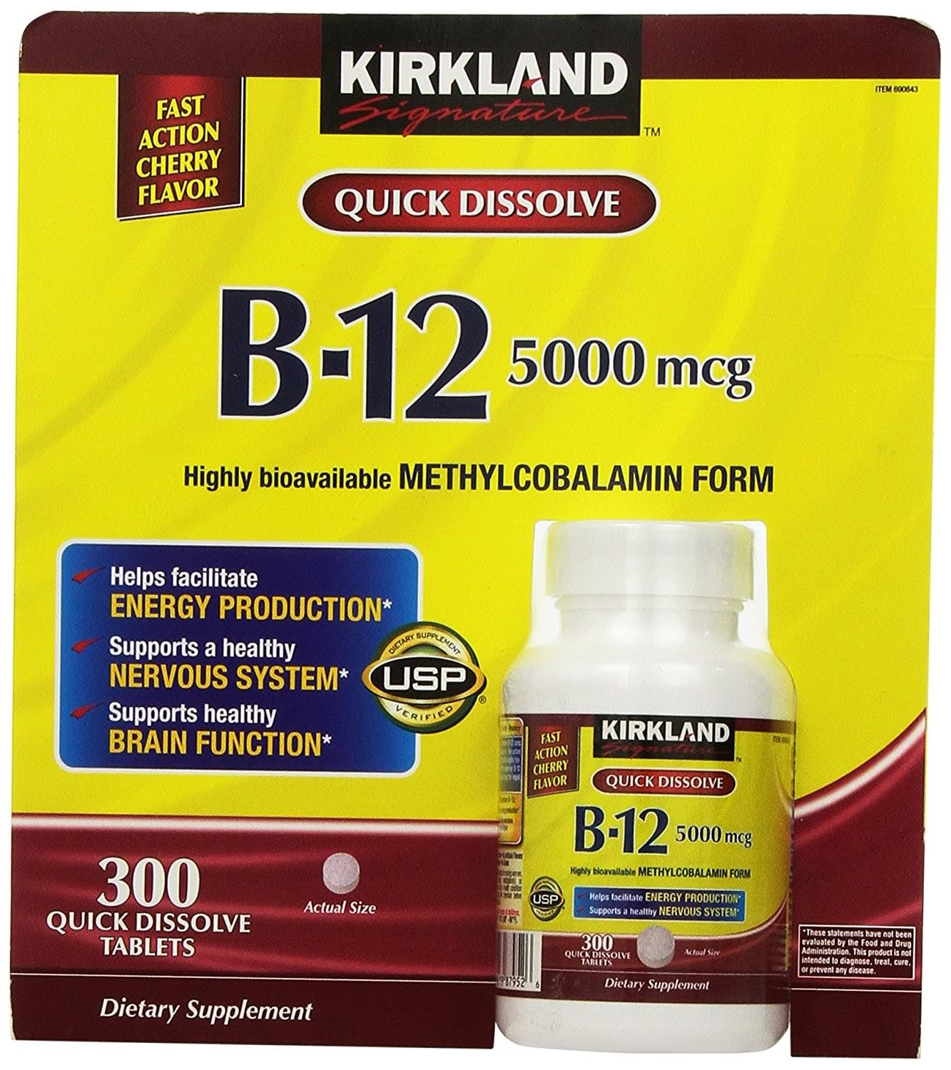 Kirkland zTWEnF Sublingual B-12 5000 mcg. Cherry, Fast Act, 300 Tablets (4 Pack)