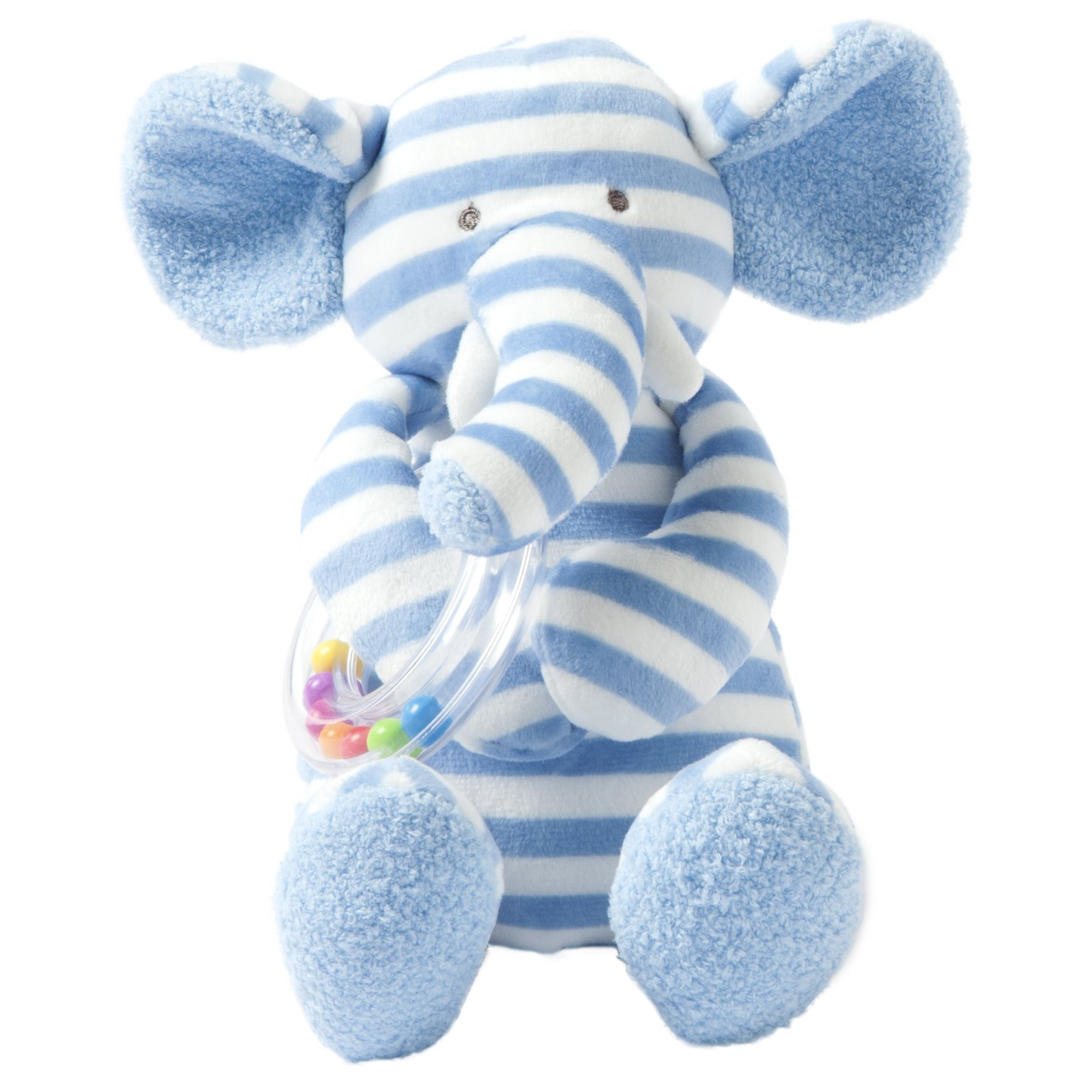 Manhattan Toy Baby Activity Plush Toy with Ring Rattle, Blue Elephant, 10''
