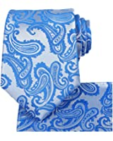 KissTies Mens Tie Set: Paisley Necktie + Hanky Pocket Square + Gift Box