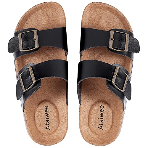 1b5648aca6452 Ataiwee Womens Flat Sandals Comfortable Casual Wide Width Slides Slip On  Cork Footbed Summer Shoes.