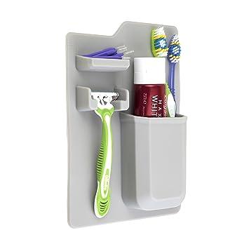 Portacepillos de dientes silicona, Organizador de tocador Baño Portacepillos de dientes , Autoadhesivo ventosa para