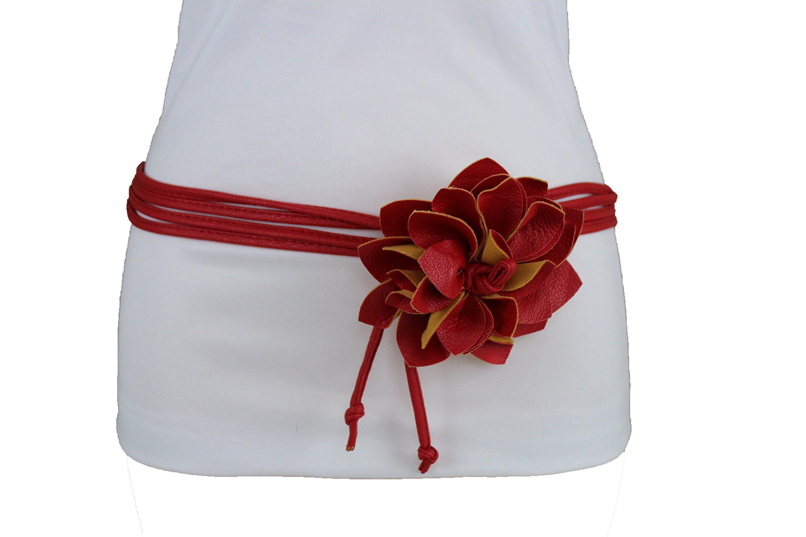 TFJ Women Skinny Fabric Tie Wrap Fashion Belt Hip High Waist Red Flower Buckle (Red XS-M 20''-35'')