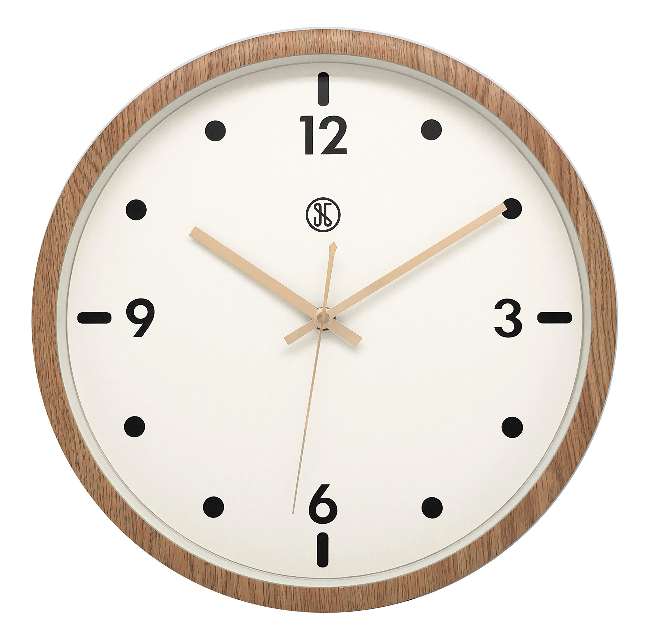 JustNile x A.Cerco 13'' Analog Wall Clock, Non-ticking Precise Sweep Movement, Durable Plastic Made, Oak Wood Grain Design, Sleek Modern Living Room Bedroom Office Decor
