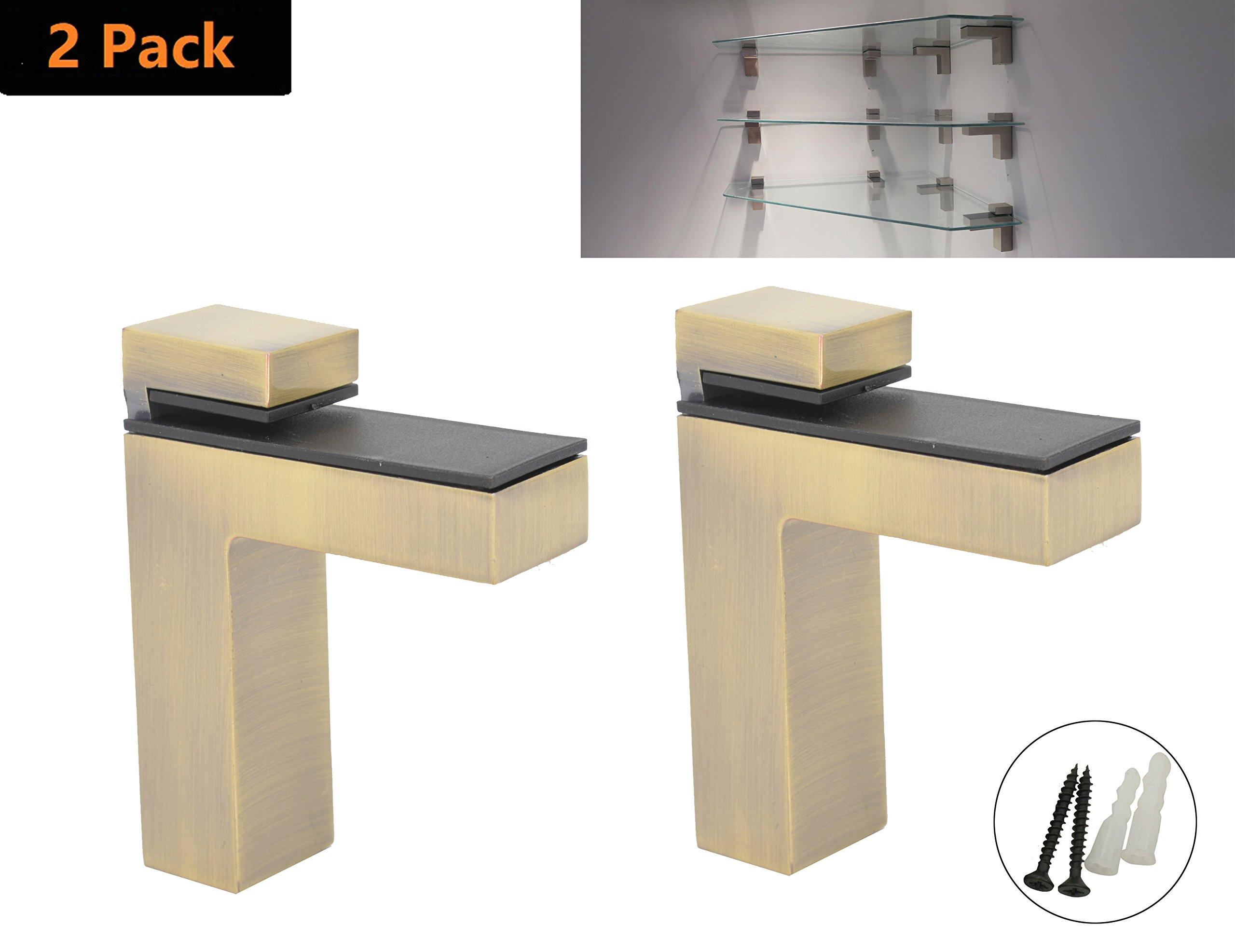 AddGrace 2 Pack Adjustable Glass Shelf Bathroom Shelf Bracket Wall Mount Brushed Chrome (Bronze) S