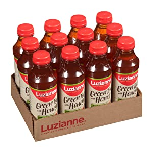 Luzianne Ready To Drink Iced Tea, Green Tea with Honey, 18.5 Ounce Bottle (Pack of 12)