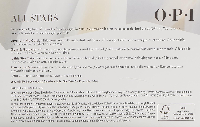 OPI Mini Kit Esmalte de Uñas, Tono All Stars - 4 x 3.75 ml: Amazon ...
