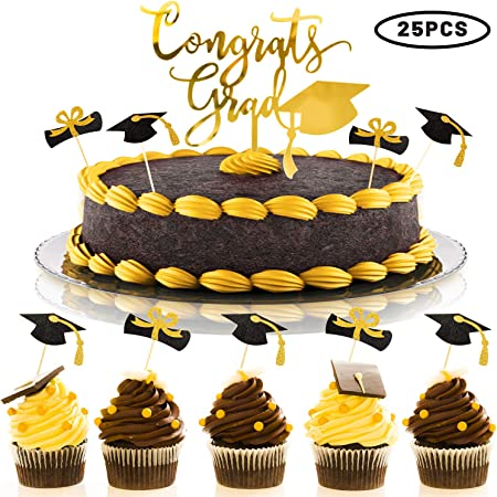 Class of 2019 Cake Toppers For Graduation Party,Graduation Appetizer Dessert Decoration Picks,Congrats Grad Cake Toppers Decorations 24 Pcs Graduation Cupcake Toppers