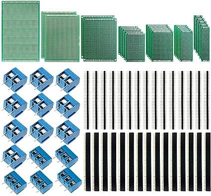 IZOKEE 70 Pi/èces Kit de Carte de Prototype PCB 7 Tailles Plaque Circuit Imprim/é Double Face avec Connecteur M/âle Femelle /à 40 Broches 2,54 mm et Bornier /à Vis 5mm
