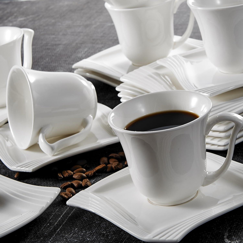 36 Pezzi in Porcellana da Tavola Set con 6 Piatto da Dessert 6 Tazze di caff/è 6 Piattino 6 Piatto Fondo 6 Piatto Piani y 6 Ciotole Cereali per 6 Persona Colore Bianco Serie Amparo MALACASA