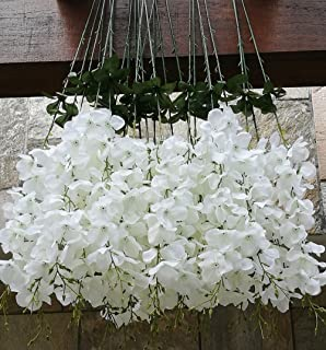Amazon 40 long artificail silk white wisteria flower vine 50 pcs single artificial fake wisteria vine ratta silk flower for garden and home decor white mightylinksfo