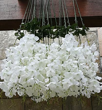 Amazon 50 pcs single artificial fake wisteria vine ratta silk 50 pcs single artificial fake wisteria vine ratta silk flower for garden and home decor white mightylinksfo