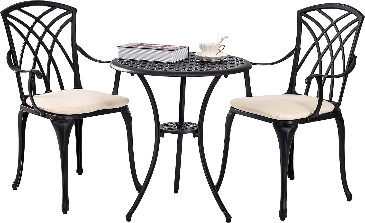 Kinger Home 3 Piece Patio Bistro Table Set Outdoor Furniture Cast Aluminum Bistro Set Table with Cushions - Weatherproof with Timeless Design (Black)