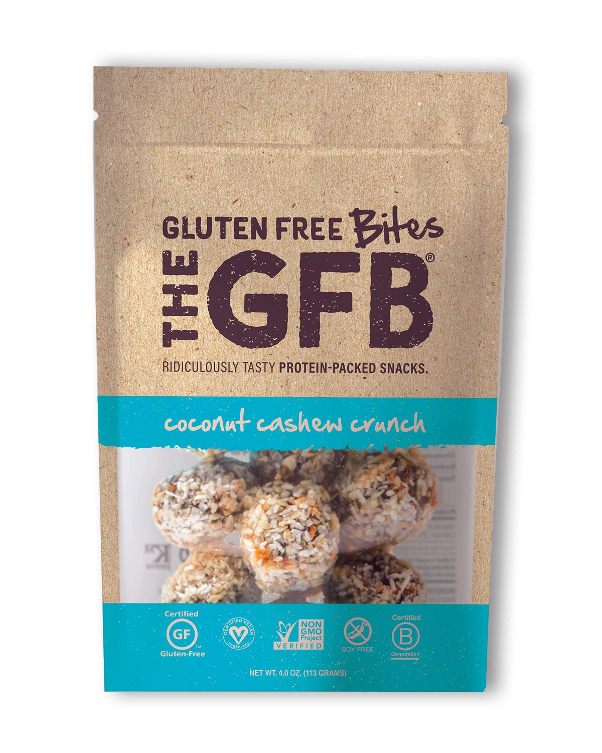 The GFB Gluten Free, Non GMO High Protein Bites, Coconut Cashew Crunch, 4 Ounce
