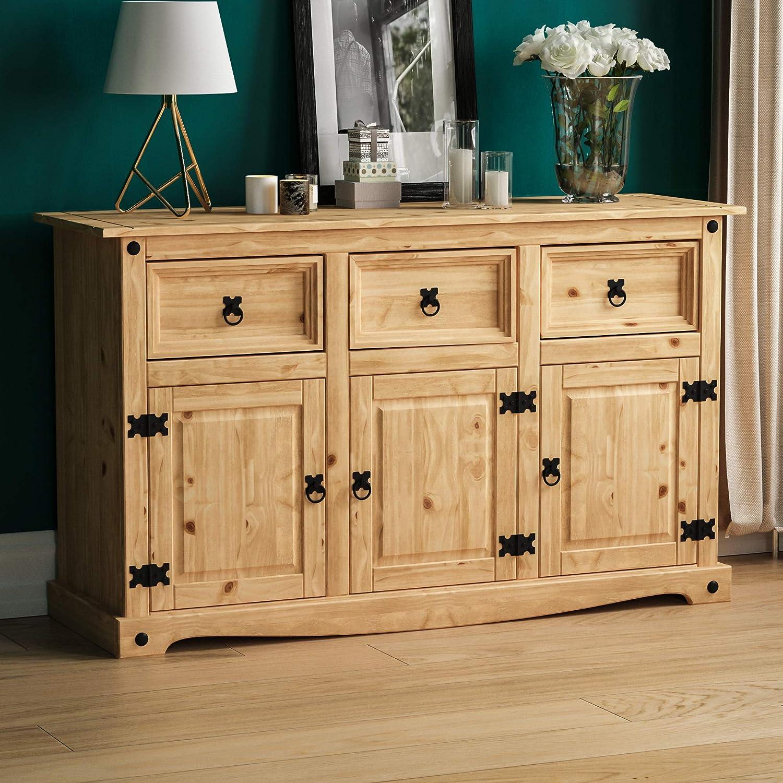Vida Designs Corona Sideboard, 3 Door 3 Drawer, Solid Pine Wood