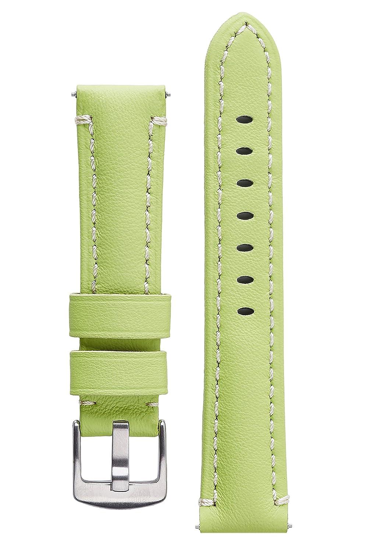 署名CaptainカーフスキンWatchバンドAnti Scratchレザー時計ストラップブレスレット 22 mm Lime 22 mm Lime Lime 22 mm B01LZ4XSI5