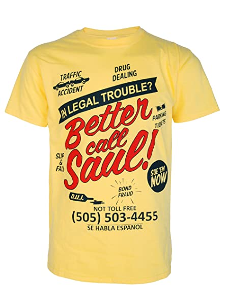 87d2afe0fd Nostalgic Clothing Movie TV Better Call Saul Breaking Bad Inspired Saul  Goodman Mens Yellow T Shirt: Amazon.co.uk: Clothing