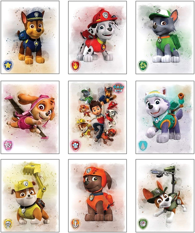 LIYA Design Prints, Paw Patrol Watercolor Prints - Unframed Set of 9 (8 x 10 Inch) - Paw Patrol Wall Art - Paw Patrol Poster - Paw Patrol Bedroom Decor for Boys,Girls - Paw Patrol Room Decor Boy,Girls