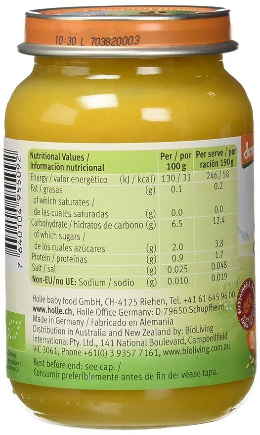 Holle Potito de Calabaza con Arroz (+4 meses) - Paquete de 6 x 190 gr - Total: 1140 gr: Amazon.es: Alimentación y bebidas