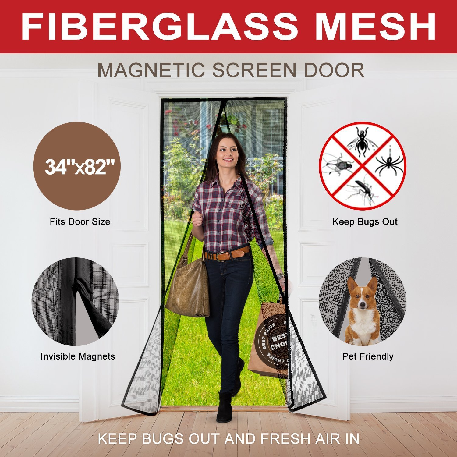 Magnetic Screen Door with Durable Fiberglass Mesh Heavy Duty Reinforced Mesh Door Screen with Magnets & Full Frame Velcro Fits Doors Up to 34 x 82-Inch (Black)