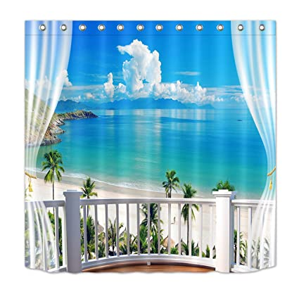 amazon com lb tropical sand beach overlook from balcony shower rh amazon com Beach Bathroom Ideas Ocean Beach Bathroom Decor