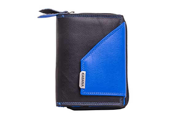 shenky - Kabana - Monedero para mujer - Cuero auténtico - Negro/azul: Amazon.es: Ropa y accesorios