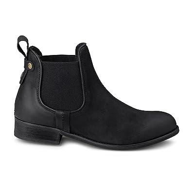 new style 6ef16 3d684 Cox Damen Damen Chelsea-Boots aus Leder, Schwarze Stiefelette mit  Stretch-Einsatz