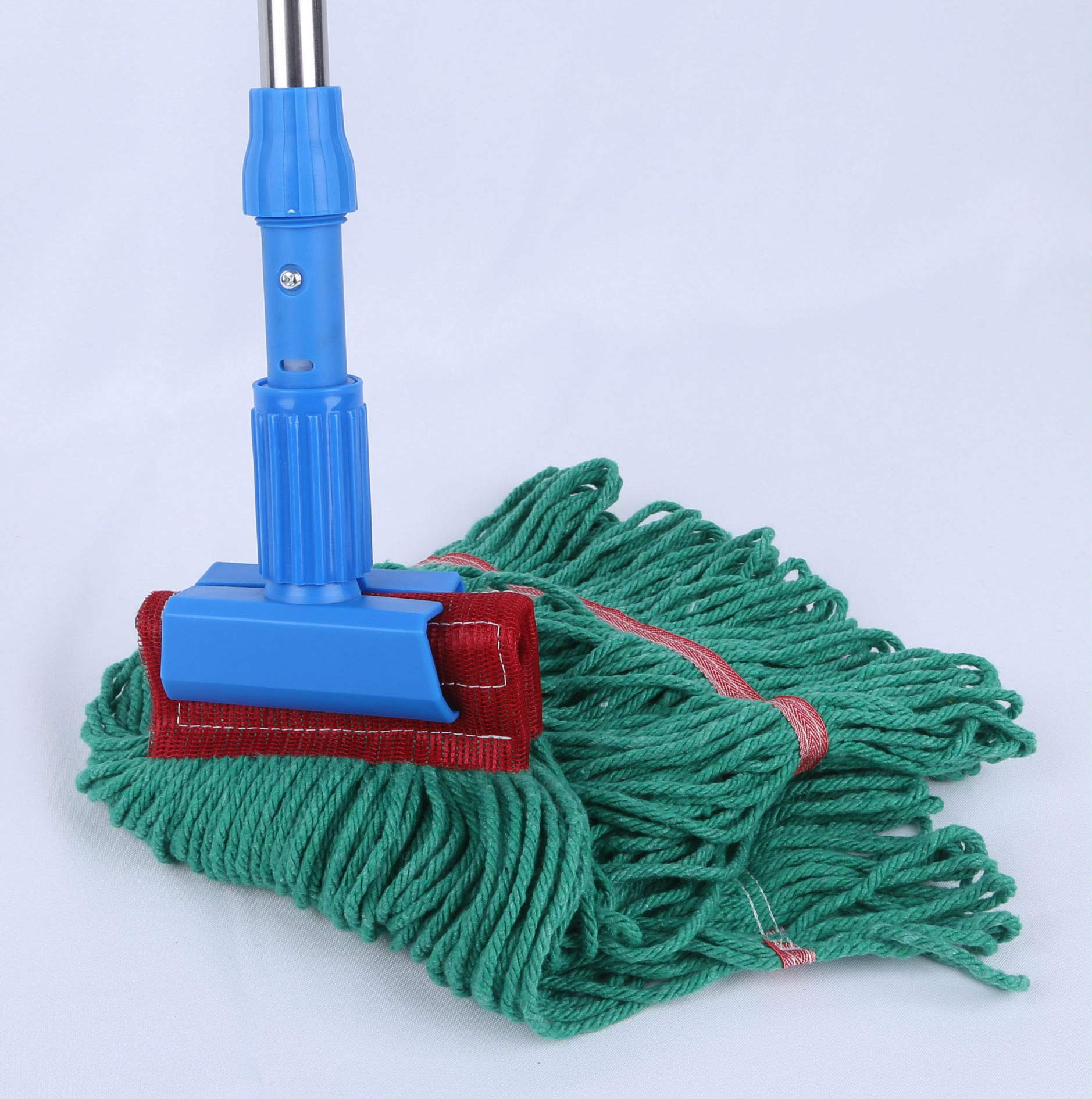 Loop-End Mop Heads Polyester Cotton 18-Inch Large, Green 4-Pack by QIPENG (Image #4)