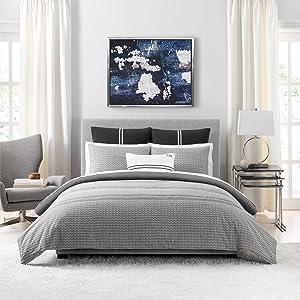 Tommy Hilfiger Global Jacquard Comforter Set, Full/Queen, Gray