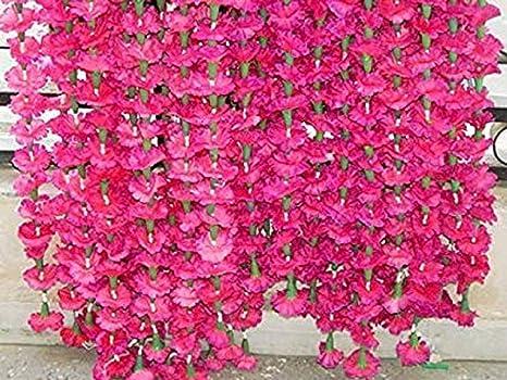 Artificial Garlands Blue Marigold Fluffy Flower Garland for decoration Indian Wedding Party Christmas Decor Flowers 5 Feet Long 10 pieces.