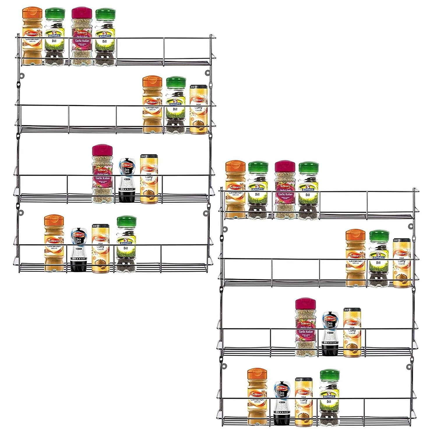 ASAB Cupboard Spice Rack Organiser - Kitchen Herb Storage Unit - Door or Wall Mounted - Chrome Plated Metal Shelf - Tiered Jars and Bottles Holder- 2 x 4 Tier