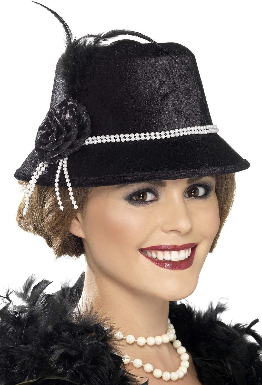 Smiffy's-33445 Sombrero de los años 20, con abalorios y flor, color negro, Tamaño único (33445)