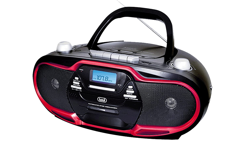 reproducci/ón de CD Trevi CMP 574 USB MP3 Boombox microcadena port/átil con radio AM // FM cassette y salida para auriculares USB - Color negro y detalles en rojo
