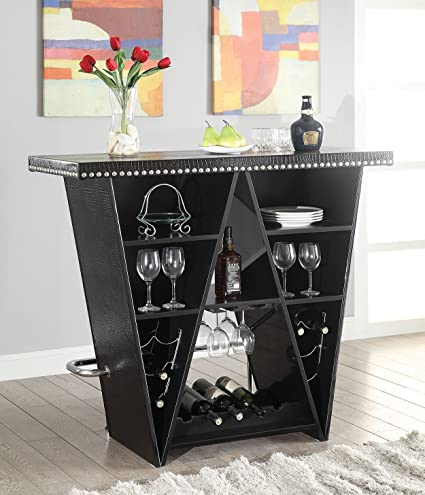 ACME Furniture 72655 2 Count Patrick Bar Table, Black Crocodile U0026 Chrome