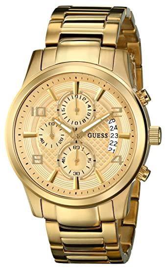 Guess U0075G5 - Reloj para Hombres, Correa de Acero Inoxidable Color Dorado: Amazon.es: Relojes