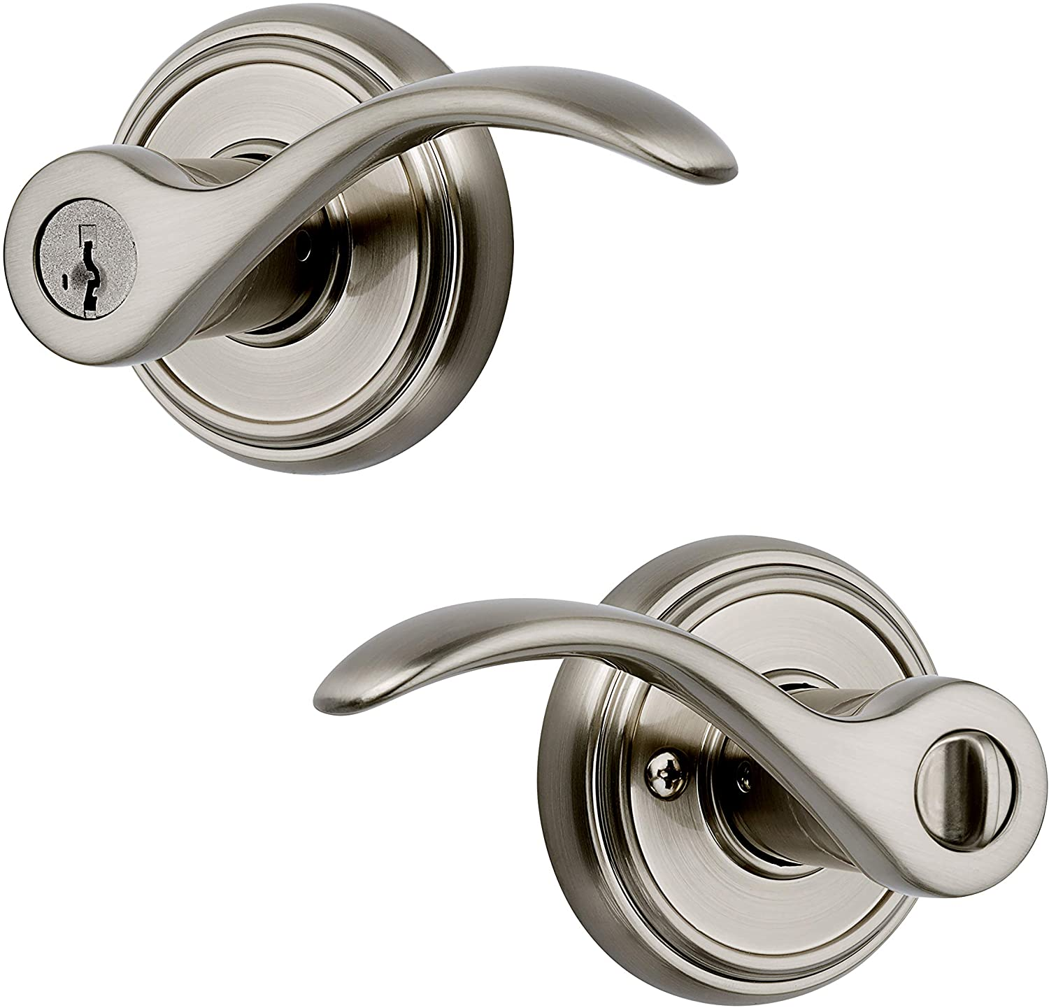 Baldwin Prestige Tobin Entry Lever featuring SmartKey in Satin Nickel