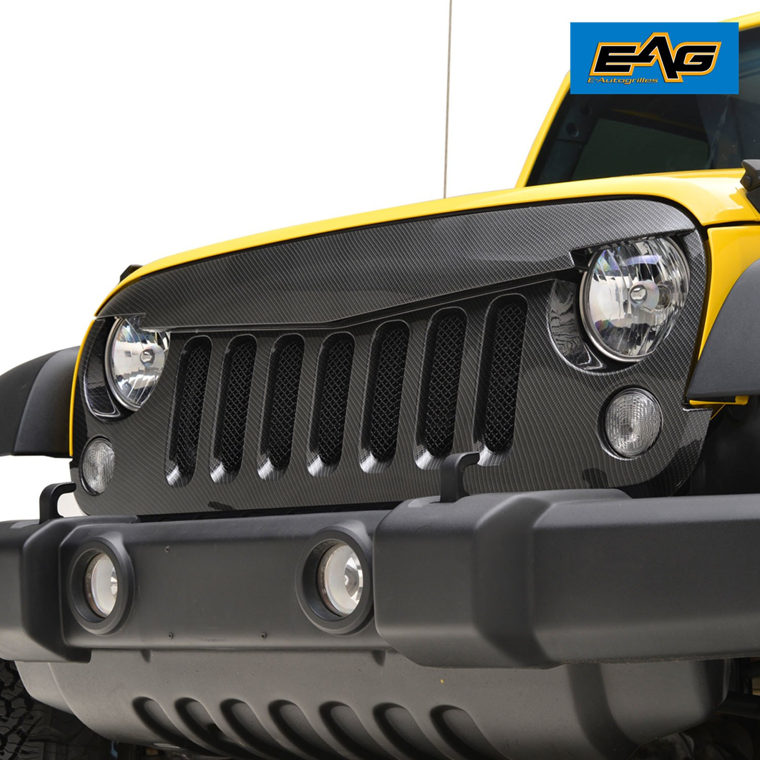 EAG 07-17 Jeep Wrangler JK Angry Bird Grille Replacement Carbon Fiber Look With Stainless Steel Insert E-Autogrilles