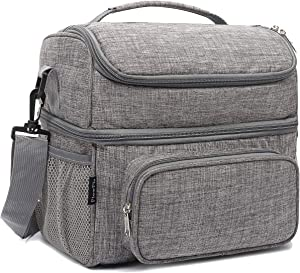 FlowFly Double Layer Cooler Insulated Lunch Bag Adult Lunch Box Large Tote Bag for Men, Women, With Adjustable Strap,Front Pocket and Dual Large Mesh Side Pockets,Grey