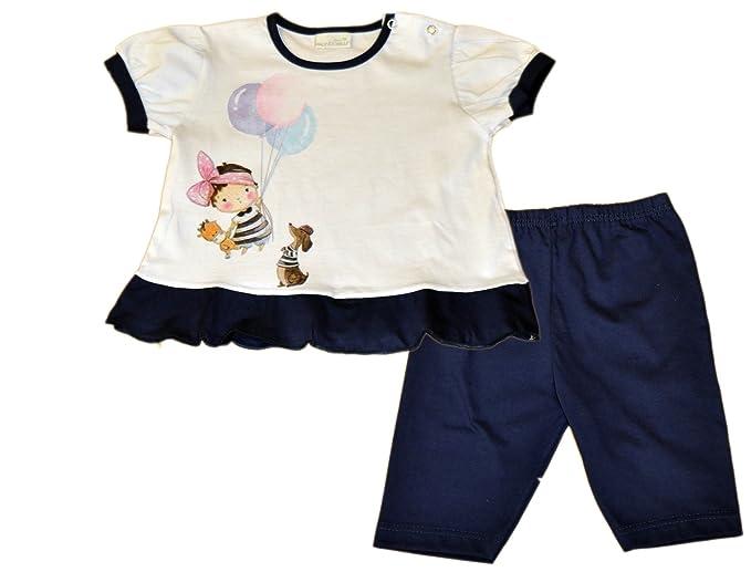Mondo Blu - Pijama 28-7201 para bebita, 100% algodón, Manga Corta