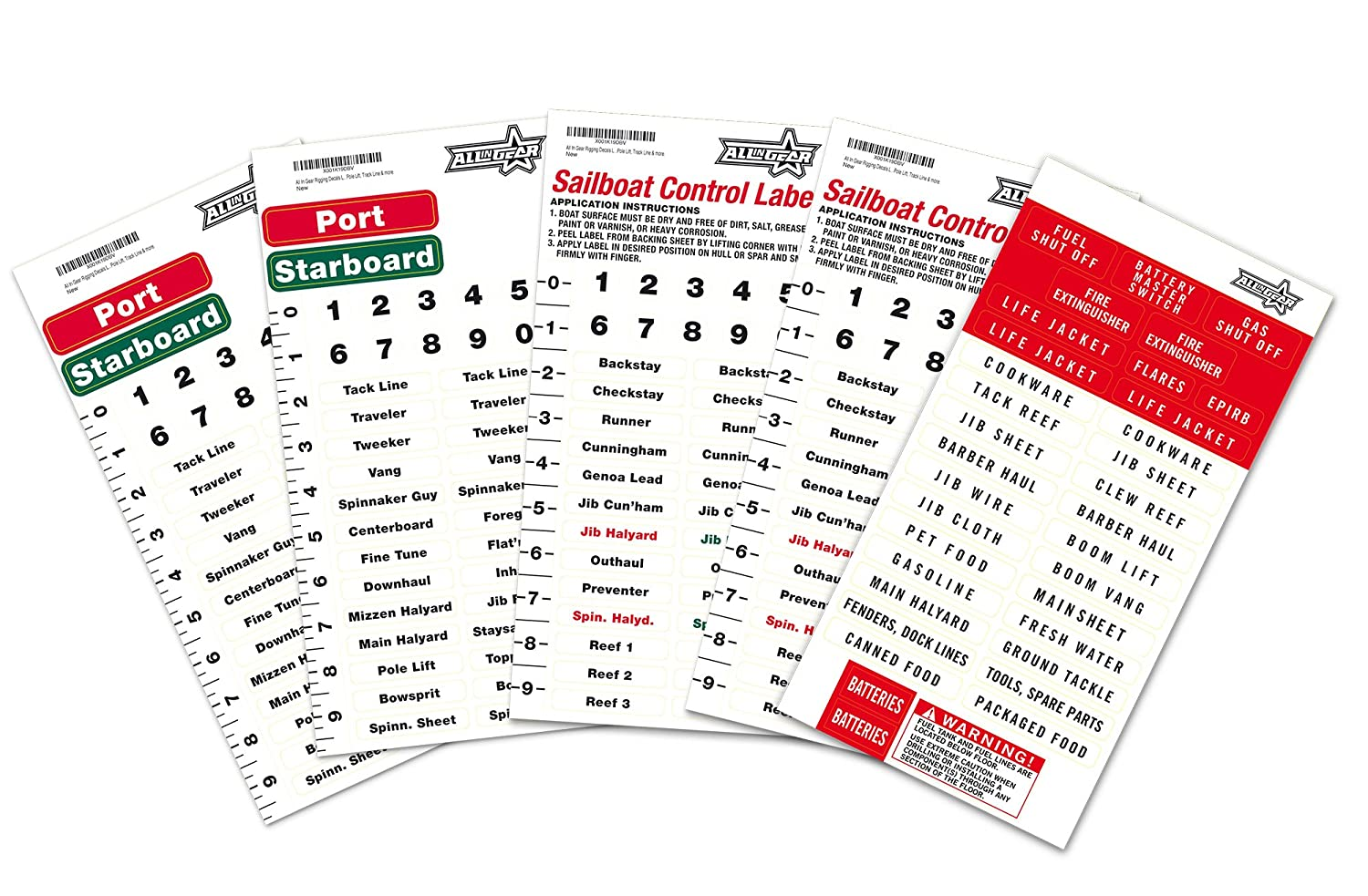 All In Gear Rigging Decals Labels For Sailboat Controls