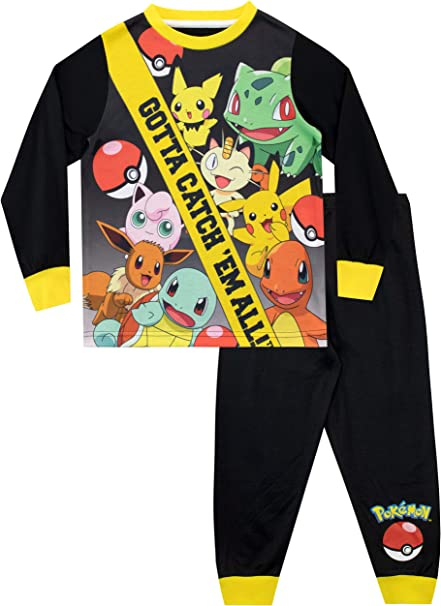 Bulbasaur and Charmender Pikachu Pokemon Pyjamas Boys Long Sleeve PJs Top Tshirt Gift for Boys Squirtle 2 Piece Kids Pyjama Set with with Snorlax 100/% Cotton Sleepwear for Kids