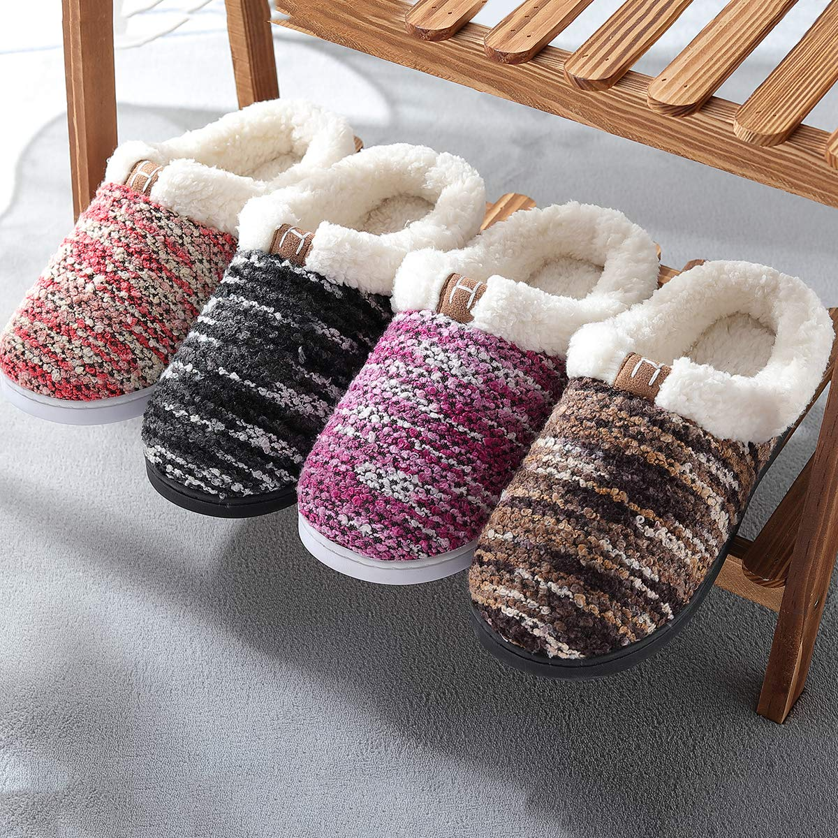 Women's Memory Foam House Slippers Wool-Like Plush Fleece Indoor/Outdoor Shoes CAMJL07033 women