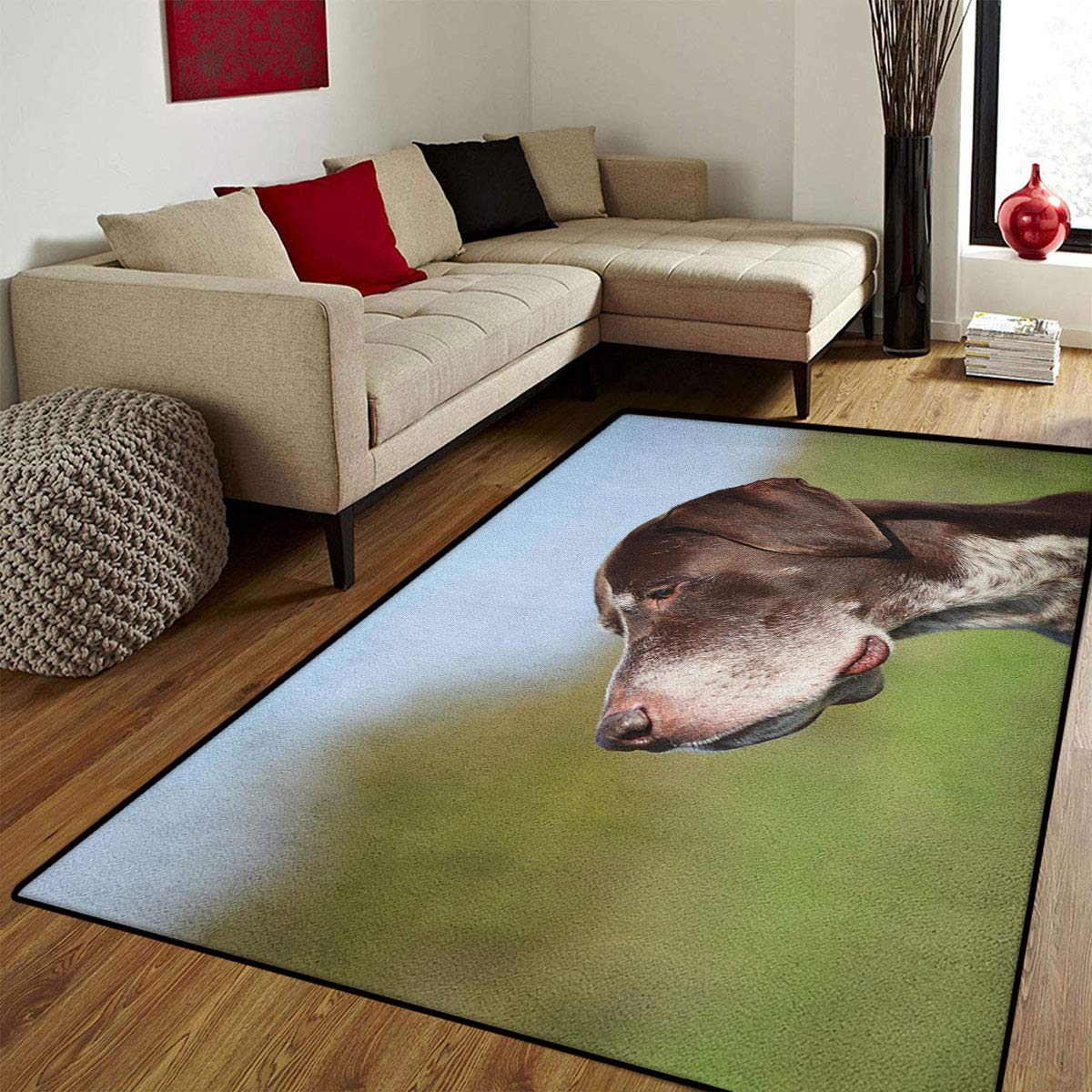 color03 6'x9'(W180cm x L270cm) color03 6'x9'(W180cm x L270cm) Hunting,Bath Mat Non Slip,German Short Haired Pointer in Wilderness Portrait Photograph Kurzhaar Pet Dog,Bathroom Mat for tub Non Slip,Multicolor,6x9 ft