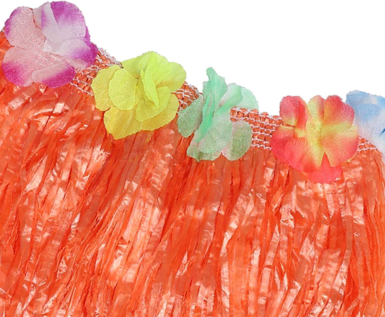 - 42cm Larga Multicolor Paja Hula Faldas con Banda El/ástica En La Cintura Ni/ñas y Adultos Paquete de 12 Mujeres Cinta De Cierre de Bucle y Gancho y Flores para Bailarinas Kurtzy Falda Hawaiana