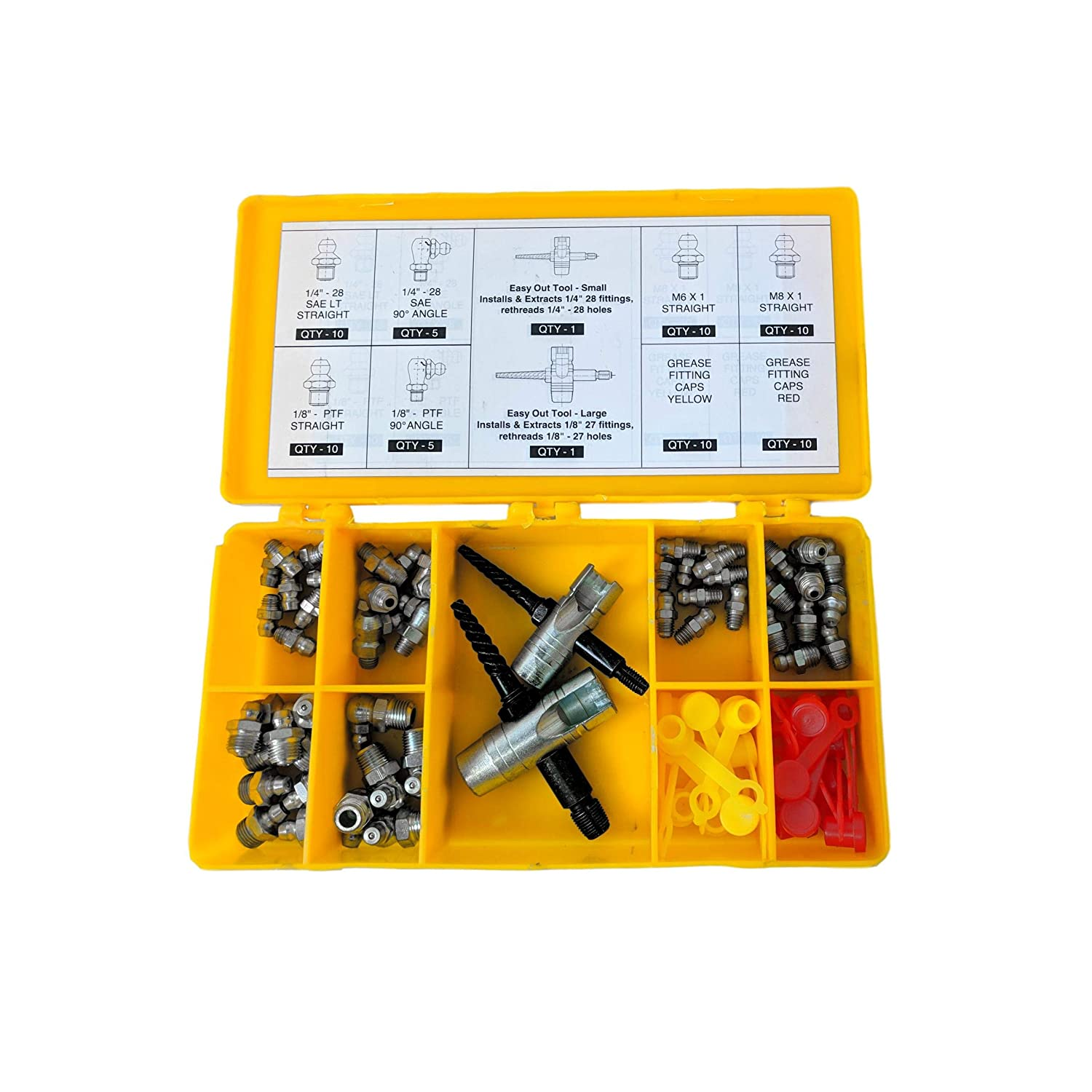 Complete Grease Fitting Replacement Kit SAE and metric Zerks multi-tools fitting caps