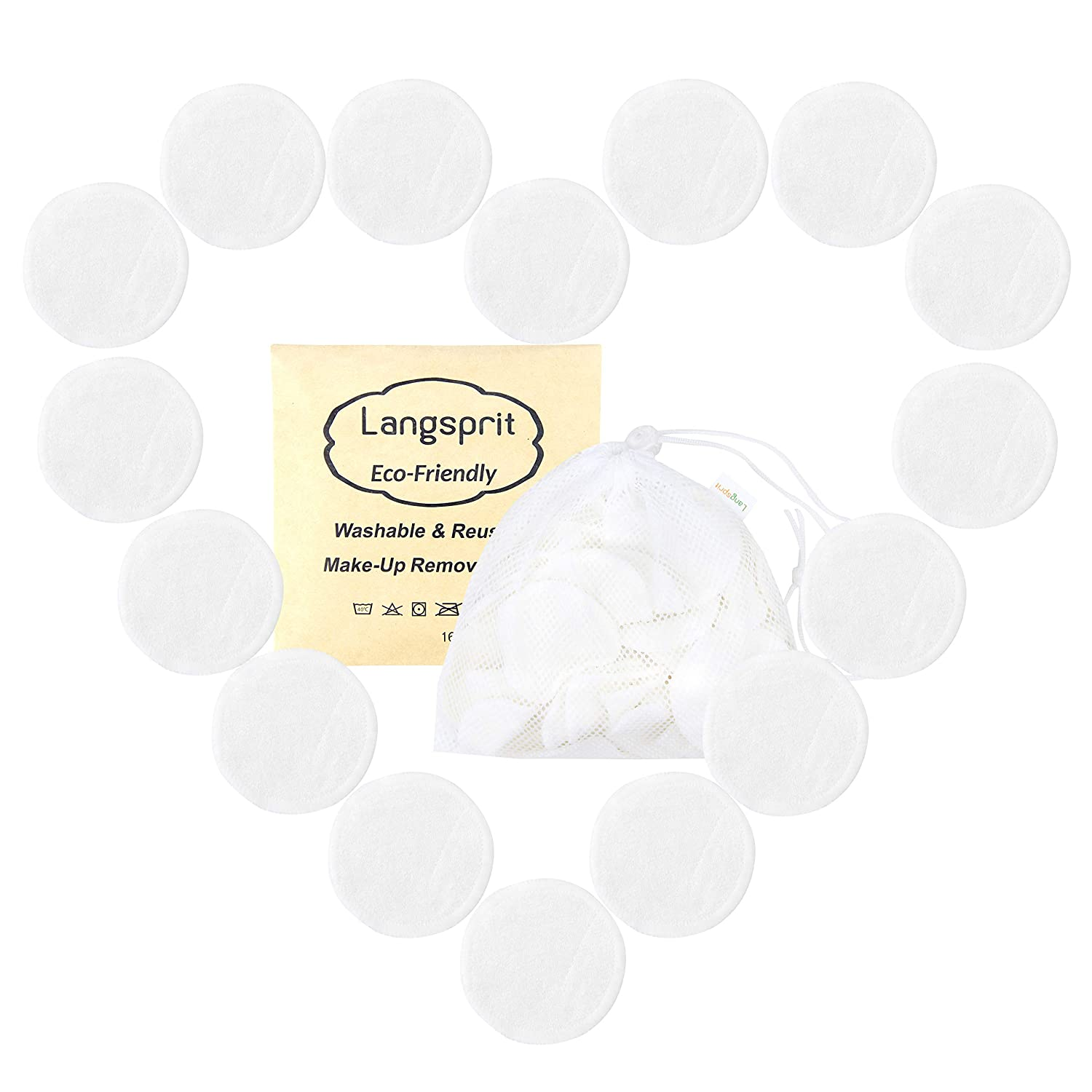 Langsprit Reusable Makeup Remover Pads 16 Packs, Organic Bamboo Face Pads, Facial Rounds, Face pads Cleansing Wipe Cloth with free Laundry Bag(Bamboo) LS-A-01