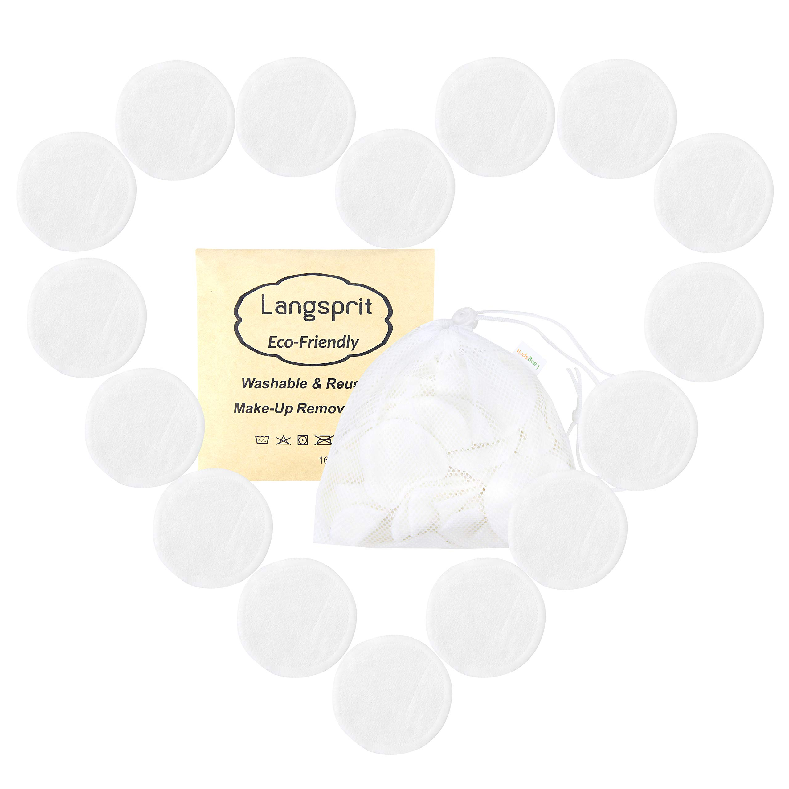 Langsprit Reusable Makeup Remover Pads 16 Packs,Organic Bamboo Face Pads,Facial Rounds,Face pads Cleansing Wipe Cloth with free Laundry Bag(Bamboo)