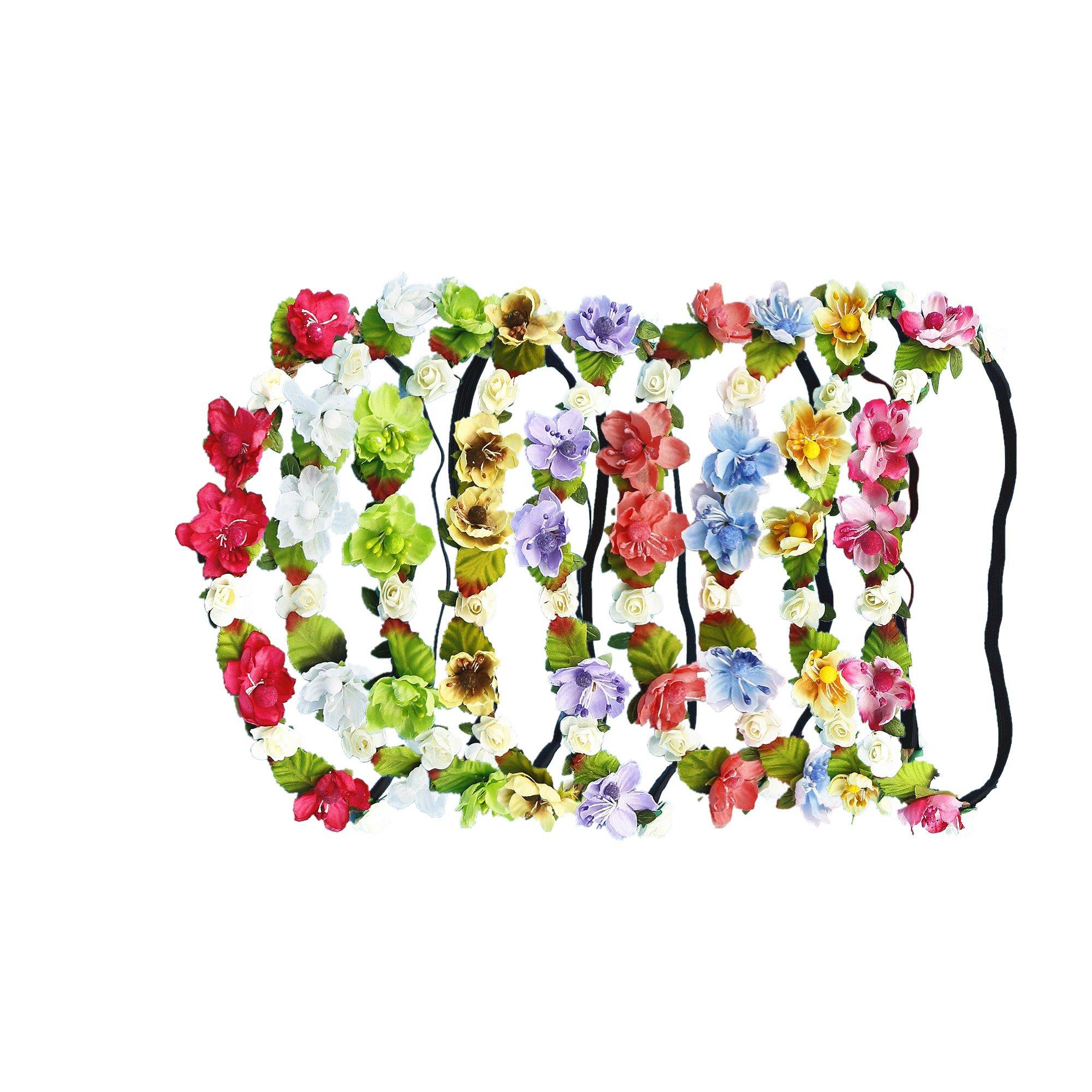 RIANCH 9 Pieces Multicolor Flower Headband Floral Wreath Crown Hairband BFS17-9B