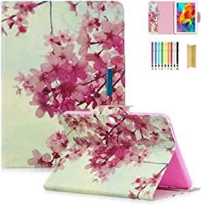 Dteck Case for Galaxy Tab 4 10.1 inch, PU Leather Folio Smart Stand Wallet Cover with Auto Sleep/Wake Protective Case for Samsung Galaxy Tab 4 10.1 inch T530NU T530 T531 T535, Sakura